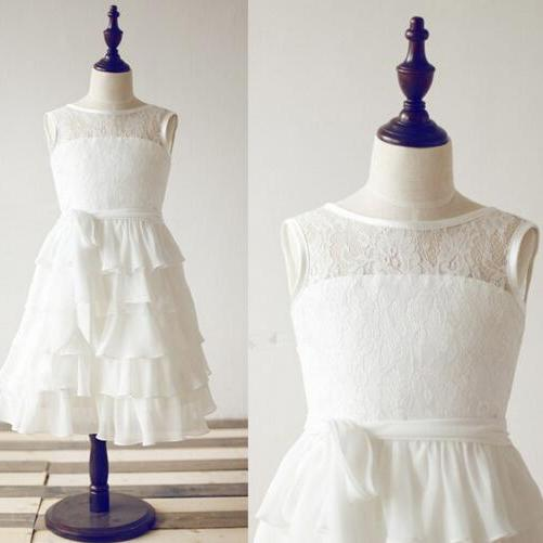 2020 New Flower Girl Dresses Keyhole Ruffles Ball Party Pageant Dress for Little Girls KidsChildren Communion Dress for Wedding