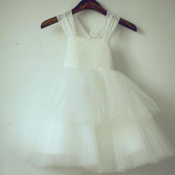 2020 Latest Flower Girl Dresses with Bow Sweet Princess Wedding Party Dress Pageant Dress for Little Girls KidsChildren Dress