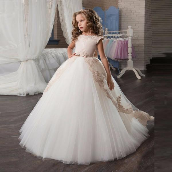 2018 Elegant Girl Pageant Dresse Princess Bow Short Sleeve Prom Dress Vestido Floor Length Graduatioin Party Ball Gown for Girls
