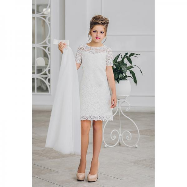 2018 New Arrival Flower Girl Dresse A-Line Lace Knee Length Short Sleeve White Tulle Pageant Communion Kids Gown for Wedding