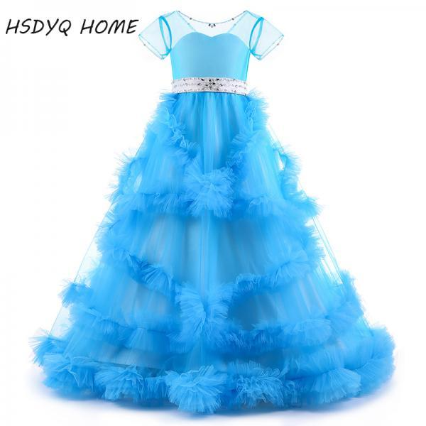 2020 New deiger Ball Gown Flower Girl Dresses Long Princess bow floor-length Ruffles Girls party Dresses