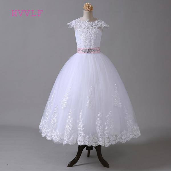 2020 Ball Gown Flower Girl Dresses For Weddings Cap Sleeves Bow Lace Beaded First Communion Dresses For Little Girls