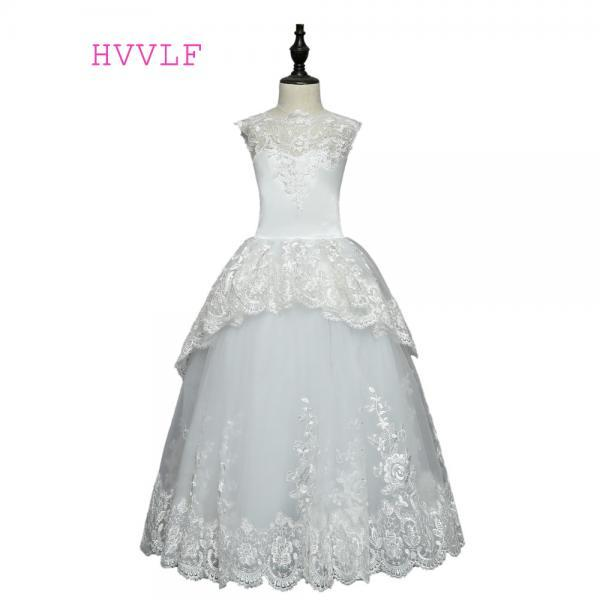 2020 Backless Flower Girl Dresses For Weddings Ball Gown Cap Sleeves Tulle Lace First Communion Dresses For Little Girls