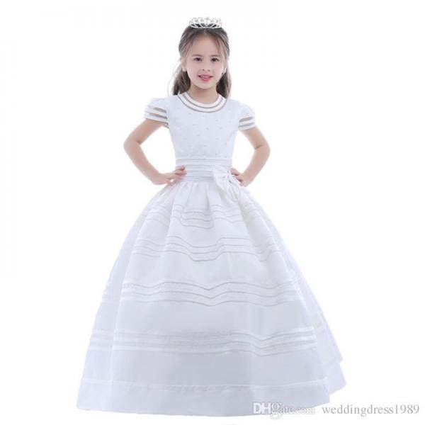 2020 New Arrival Flower Girl Dress First Communion Dresses For Girls Short Sleeve Belt With Flowers Customized