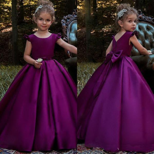 Beautiful Simple Girls Pageant Dress Satin A-Line Bow Sash Girl Communion Dress Kids Formal Wear Flower Girls Dresses for Wedding